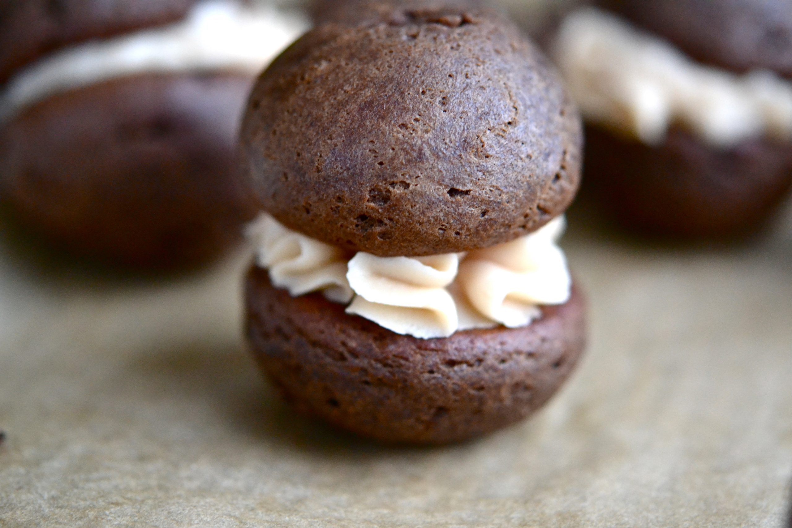 Mini Chocolate Peanut Butter Whoopie Pies – with Salted Caramel ...