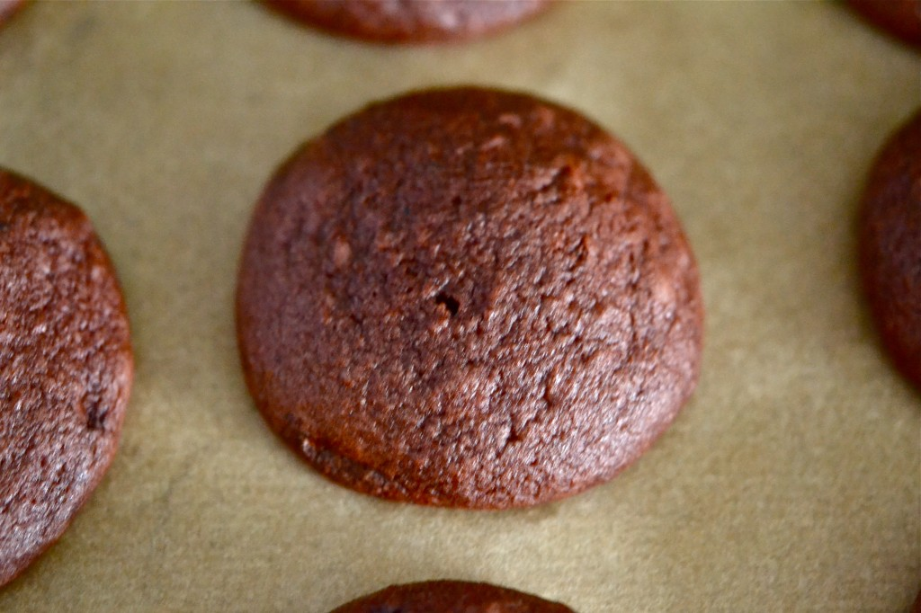 Gluten Free Red Velvet Whoopie Pies with Strawberry Cream Cheese Filling