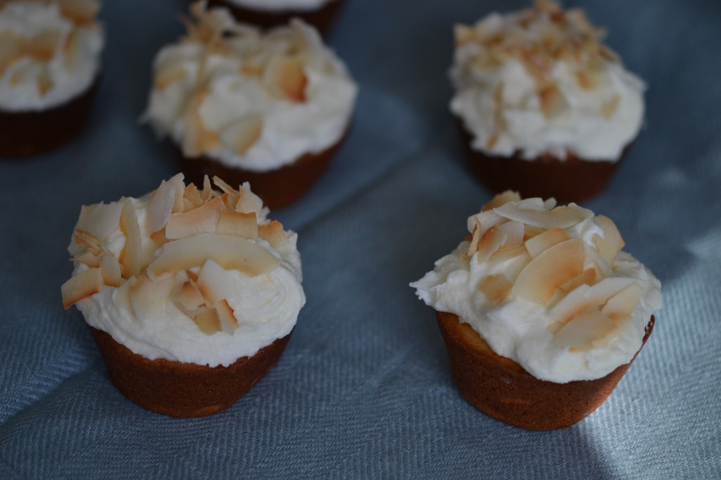 Gluten Free Frosted Coconut Cupcakes with Toasted Coconut Chips