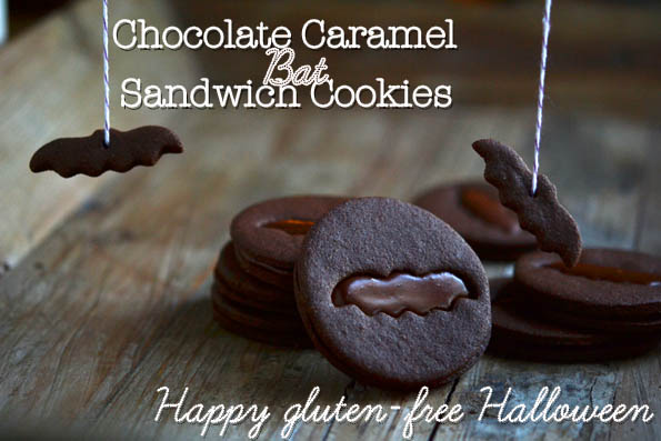 Chocolate Caramel Bat Sandwich Cookies