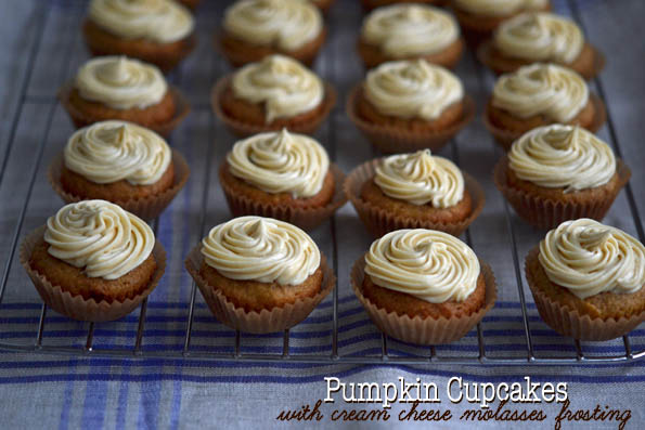 Pumpkin Cupcakes with Cream Cheese Molasses Frosting
