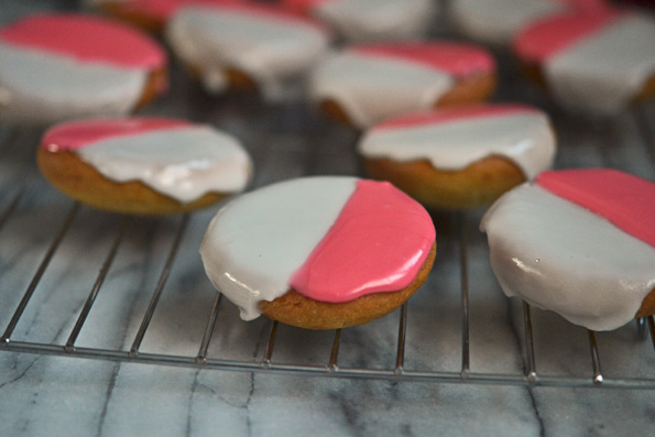 "Pink ""Black & White"" Cookies for Valentine's Day (from the Shoestring Cookbook!)"