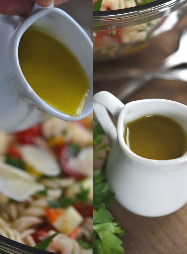 Gluten Free Pasta Salad with Roasted Shallot Vinaigrette
