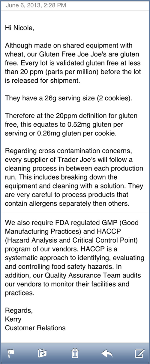 Trader Joe's Gluten Free Joe-Joe's Chocolate Sandwich Cookies: Are they safely gluten free?