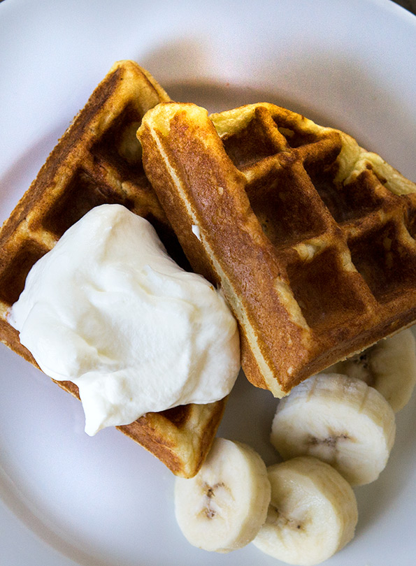These fluffy gluten free waffles are only a little bit crisp on the outside, and they're super soft on the inside. They're your new go-to waffle recipe. Trust me!
