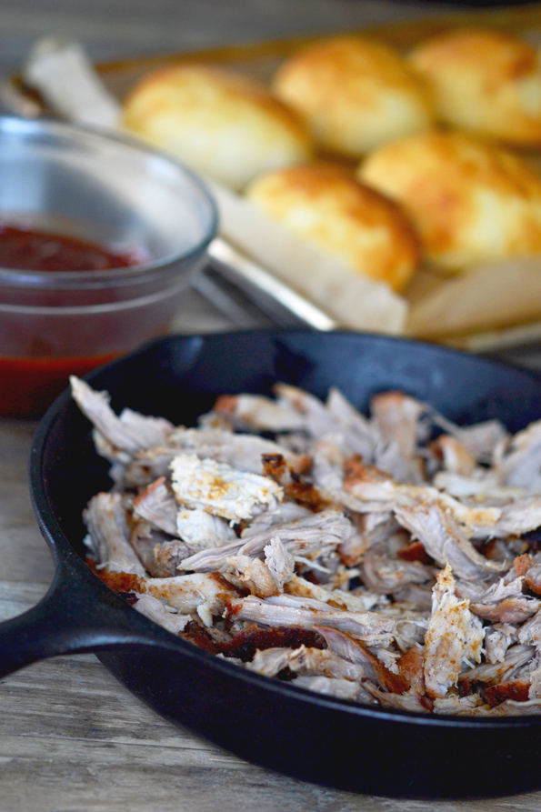 Pulled Pork on a Gluten Free Hawaiian Roll