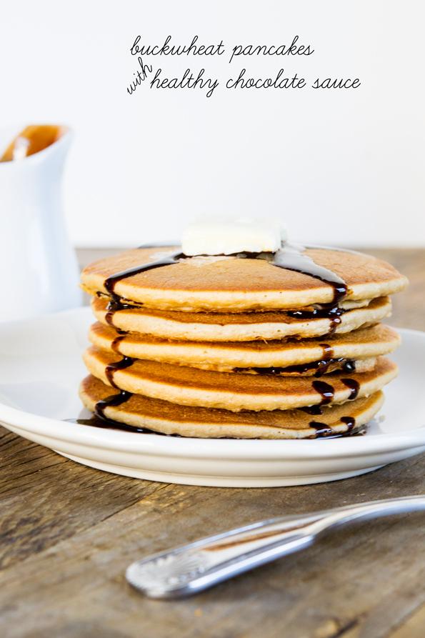 Gluten free buckwheat pancakes with healthier chocolate sauce