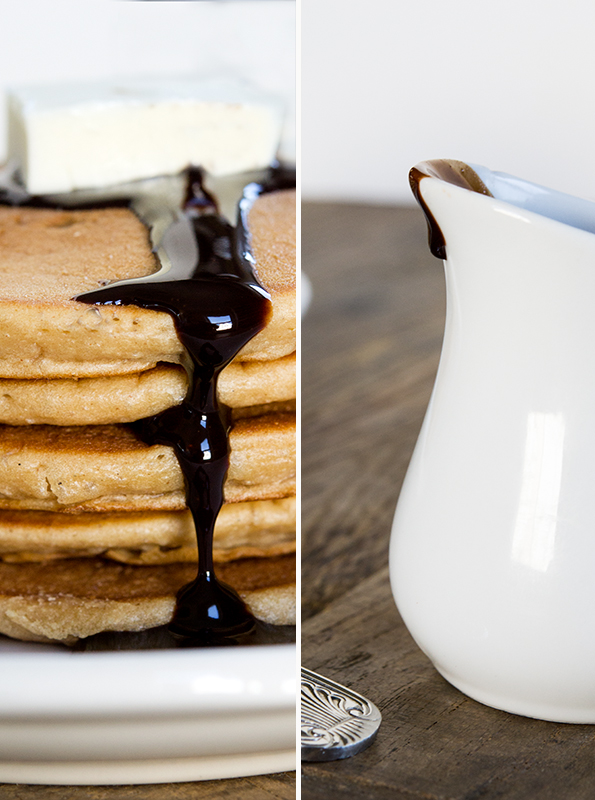 Healthier chocolate sauce on gluten free buckwheat pancakes