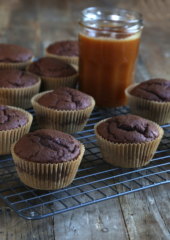 Starbucks Style Gluten Free Chocolate Caramel Muffins