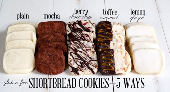 Gluten Free Shortbread Cookies 5 Ways: plain, mocha, berry chocolate chip, toffee caramel and lemon glazed