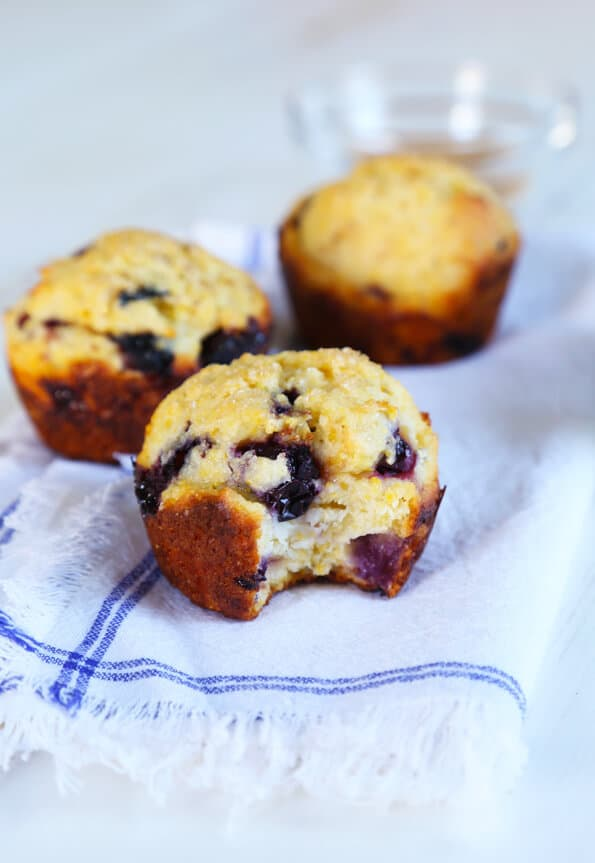 Skinny Gluten Free Blueberry Corn Muffins—155 calories each!