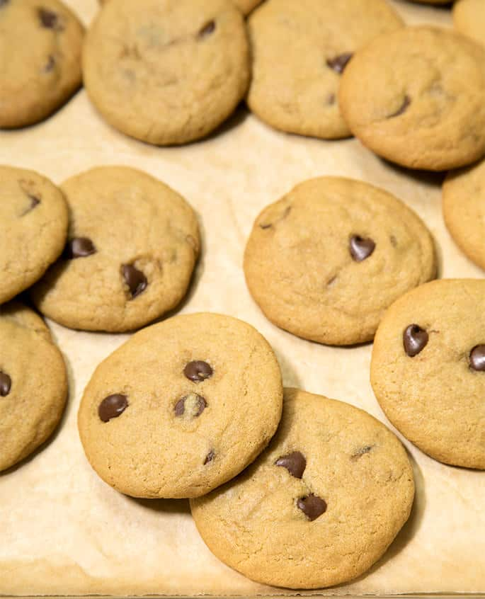 These thin and chewy gluten free chocolate chip cookies are made with plenty of butter and brown sugar. And they're simply perfect for making ice cream sandwiches. No crumbs!