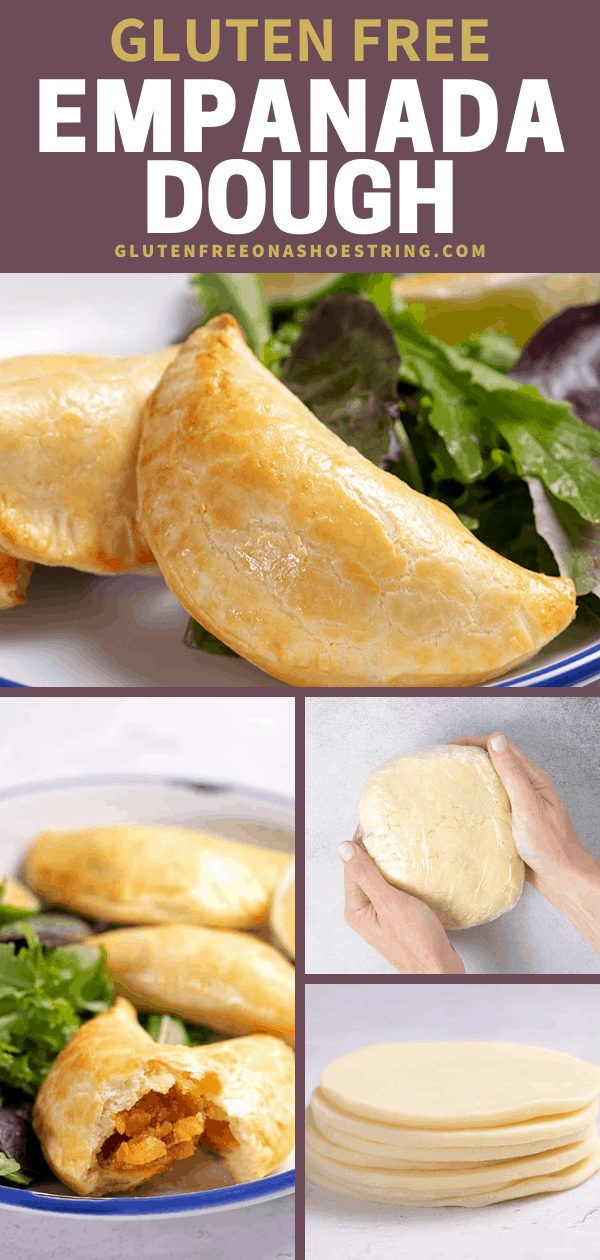 Empanada Dough raw in plastic, shaped in a stack, and shaped into baked empanadas