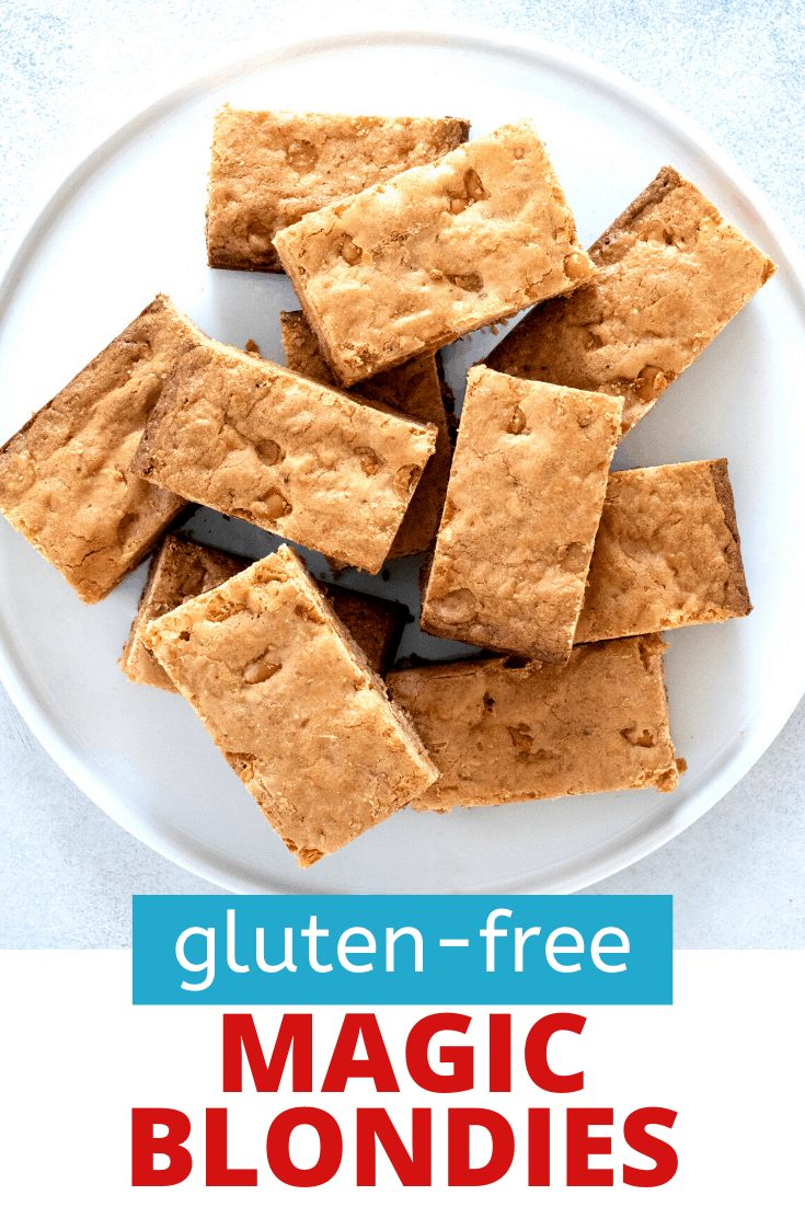 Words gluten-free magic blondies with overhead image of magic blondies on a round white serving plate