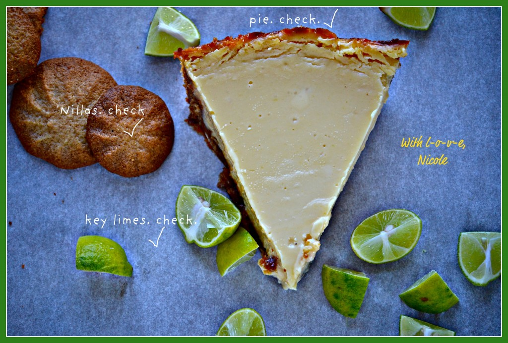 Key lime pie on white surface