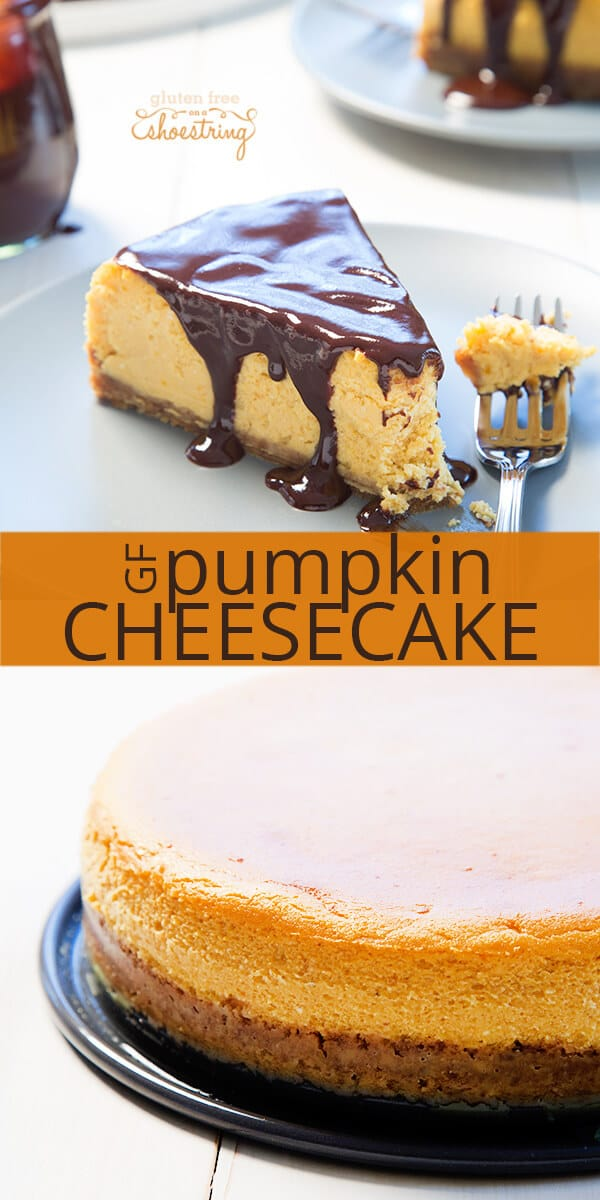 A piece of pumpkin cheesecake in white surface with chocolate on tip and a fork and overhead view of pumpkin cheesecake