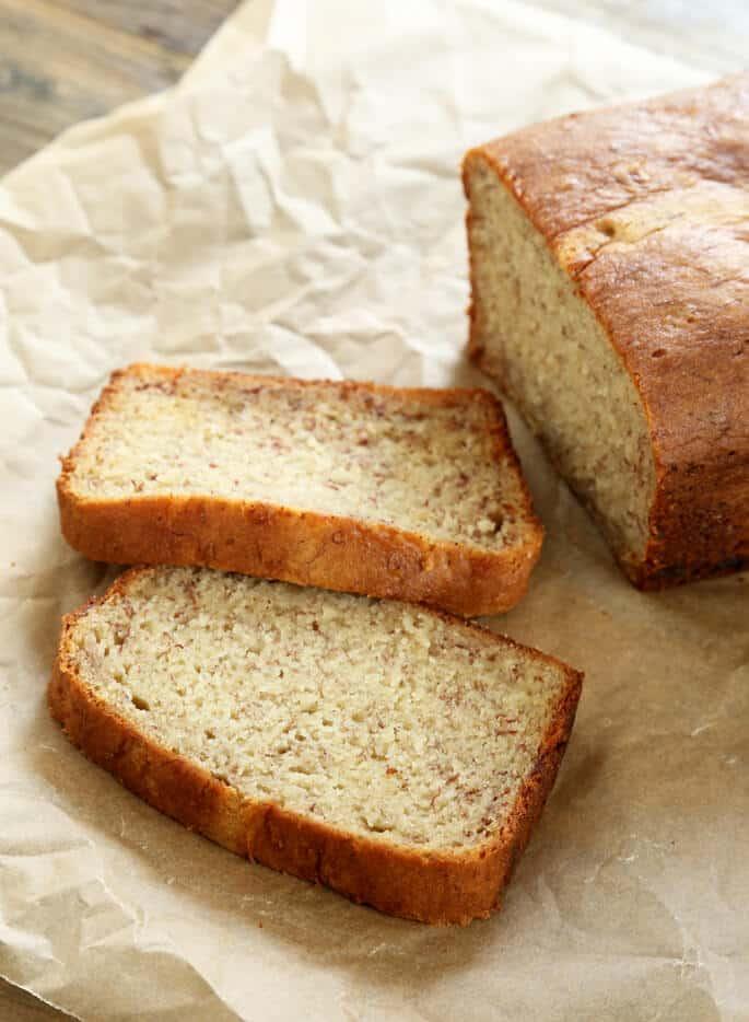 Slices of gluten free banana bread