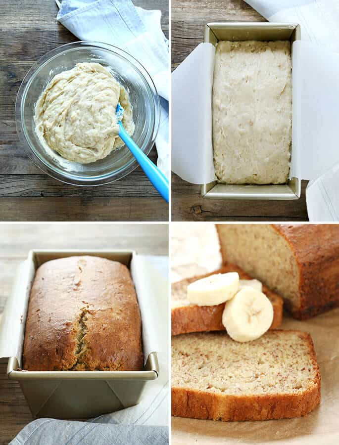 Raw batter for gluten free banana bread in a bowl, in the loaf pan, and baked and sliced
