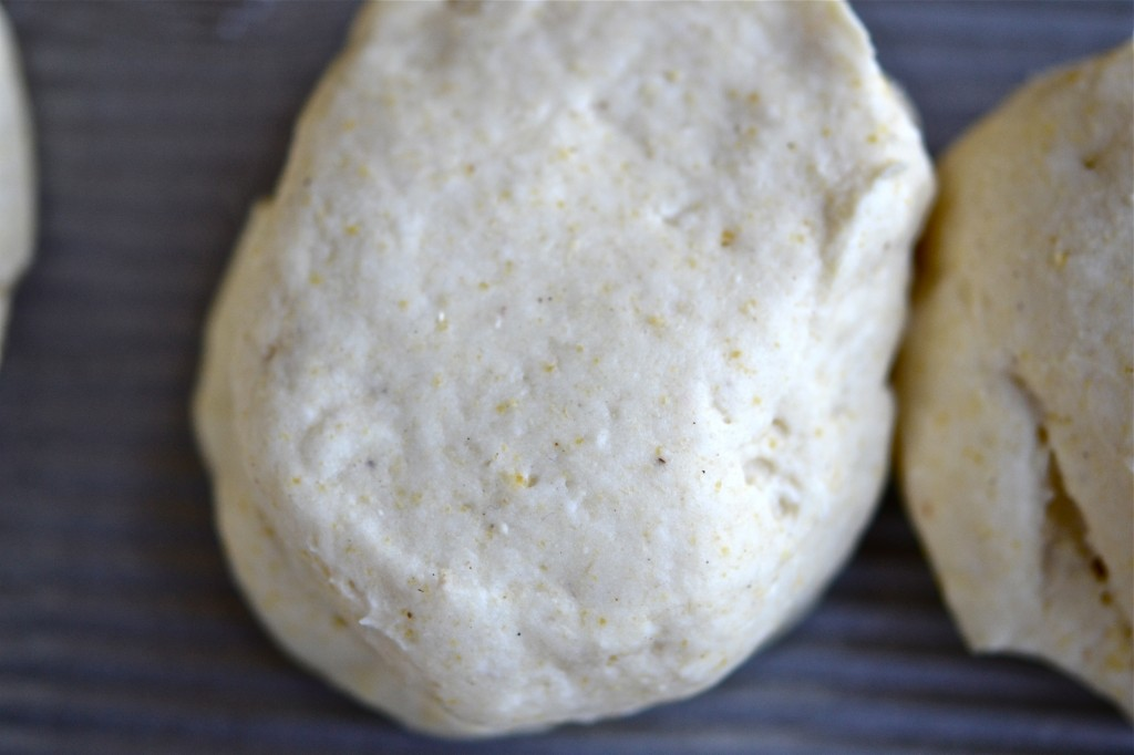 A close up of dough