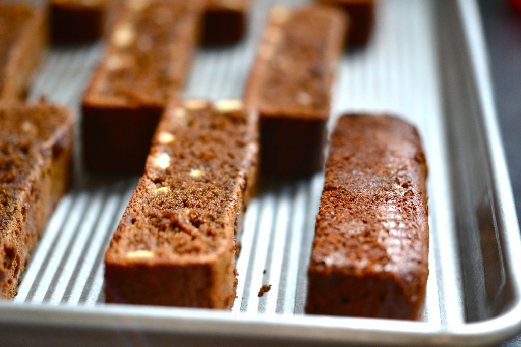 almond biscotti in metal tray