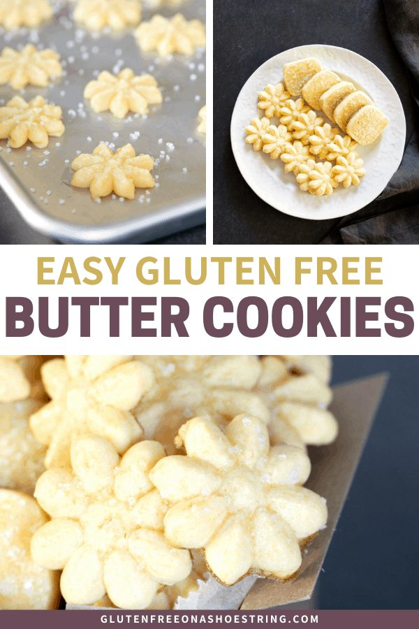 This gluten free butter cookie recipe turns out perfect icebox or spritz (cookie press) cookies every time. They hold their shape and can be as simple or as fancy as you like!