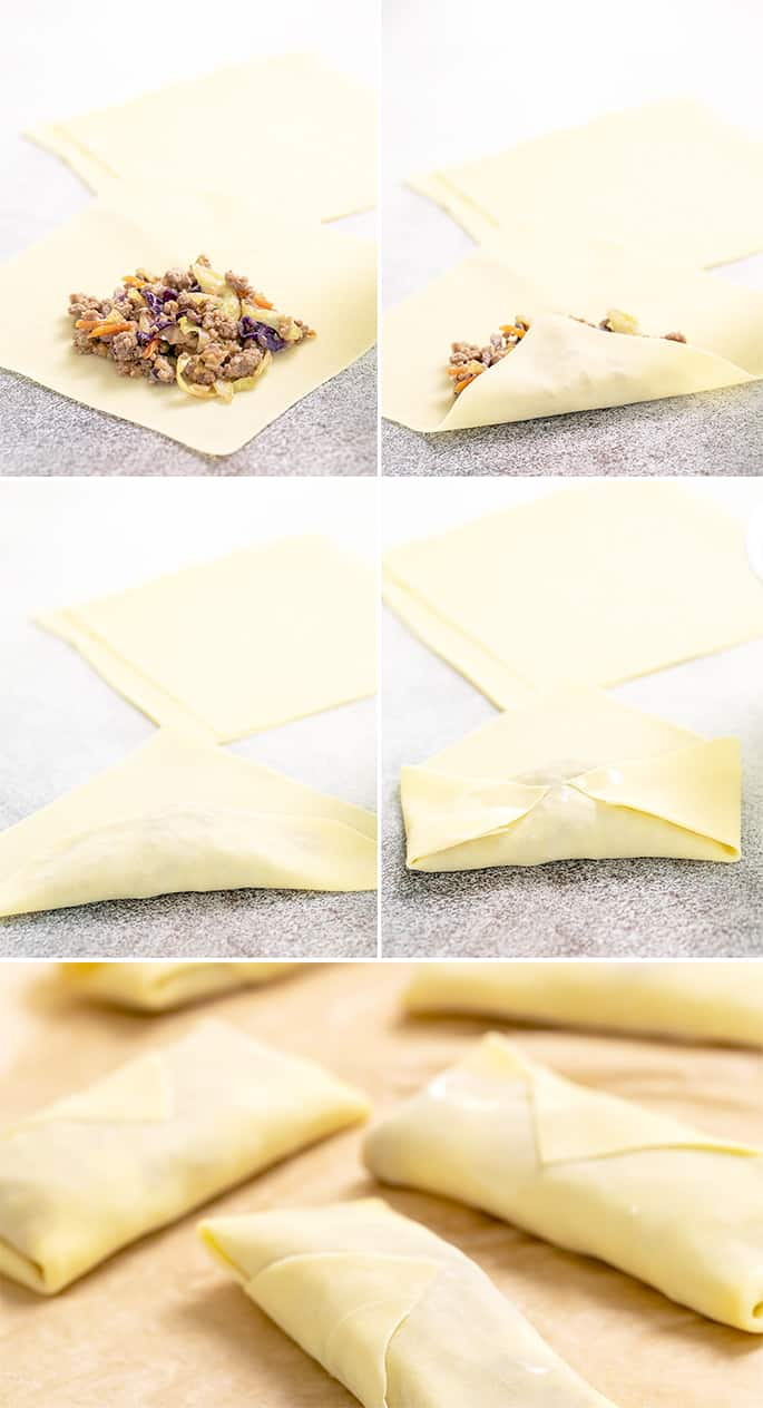 Raw egg roll wrapper open with filling on top, half folded, folded twice, sides tucked in, and fully wrapped
