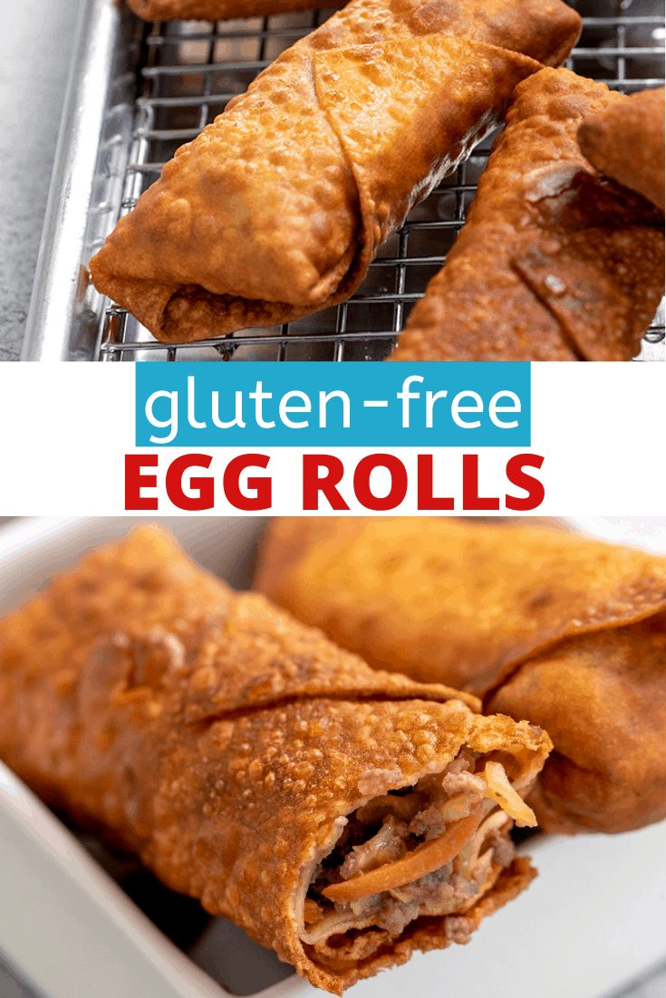 Words gluten-free egg rolls with egg rolls on wire rack and served in a small square white bowl with a bite taken