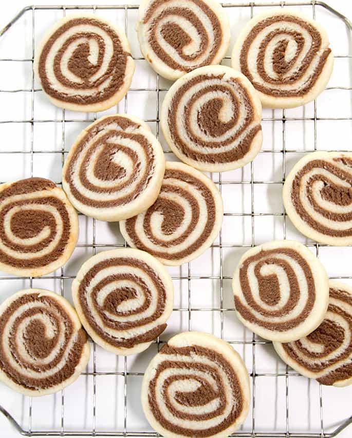 Many pinwheel cookies on metal tray
