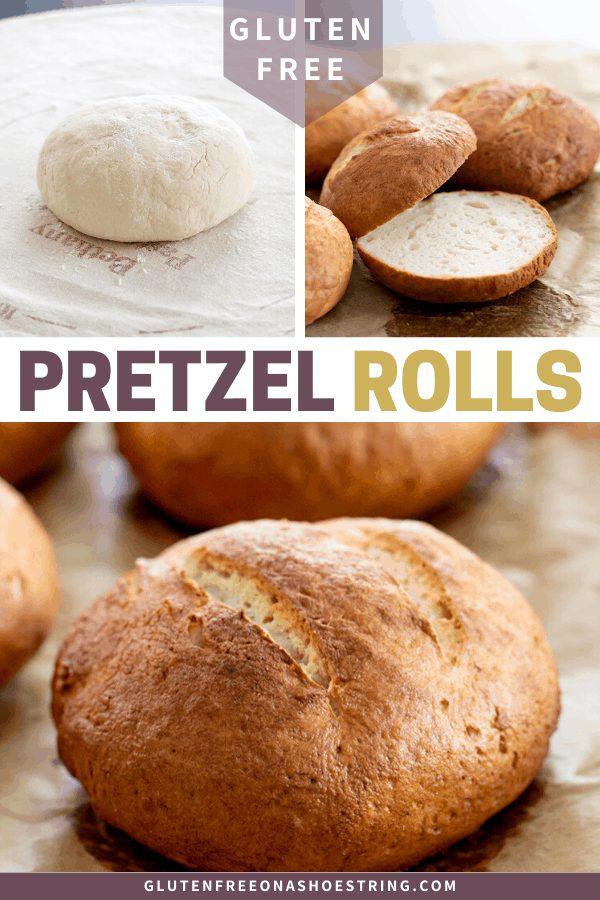 raw gluten free pretzel dough, baked pretzel rolls whole and sliced
