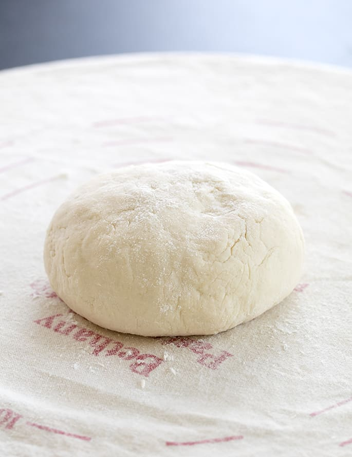 Raw pretzel dough ball
