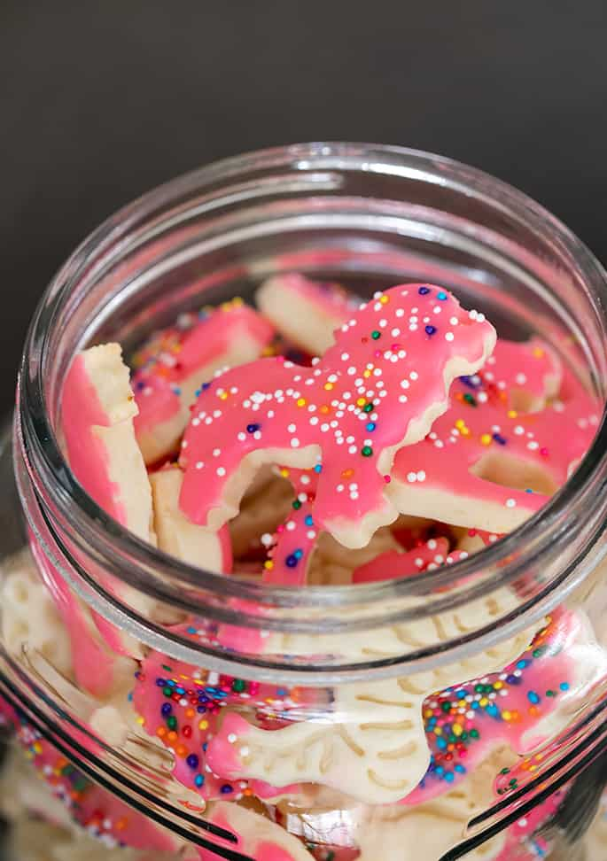 Closeup image of lion shaped animal cracker with pink frosting and rainbow nonpareils