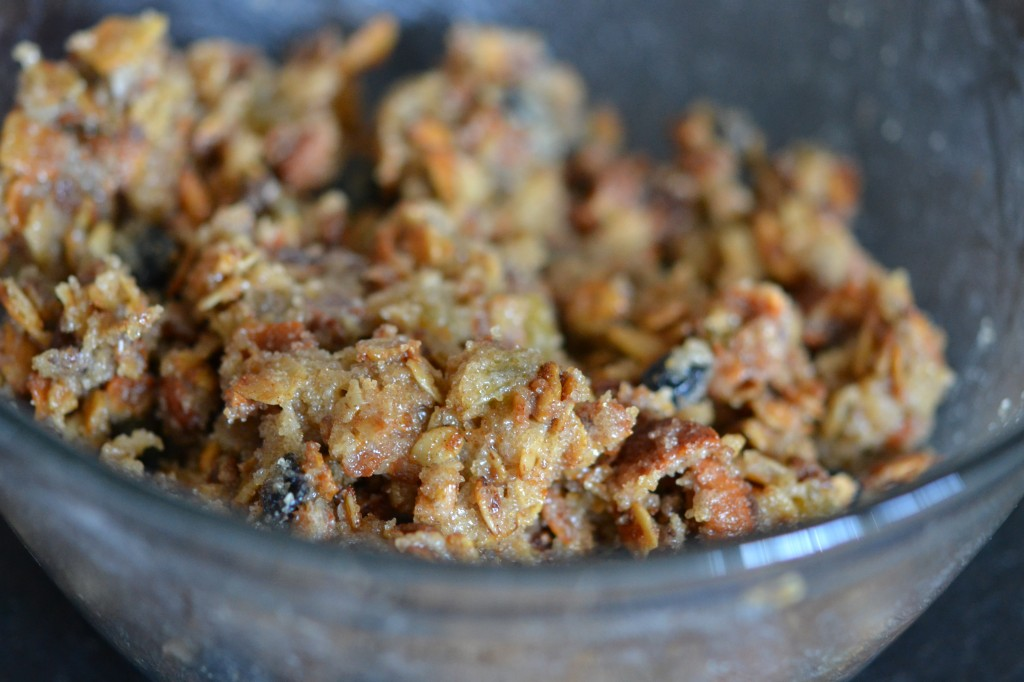 A close up of granola in a bowl