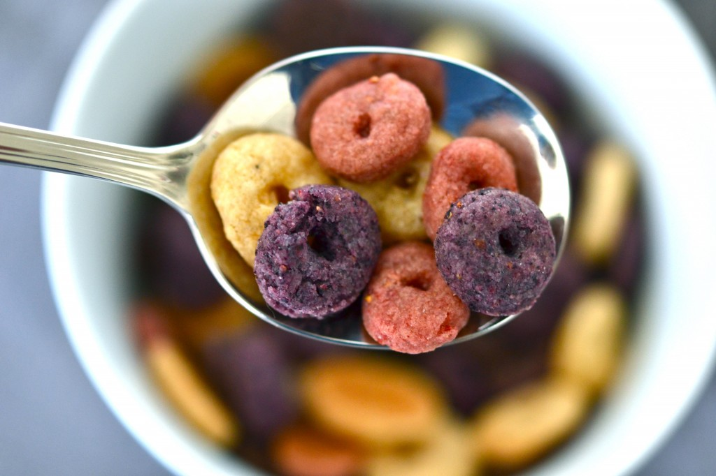 Froot Fruit Loops Copycat Cereal in a spoon