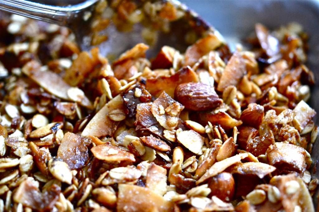 A close up of granola