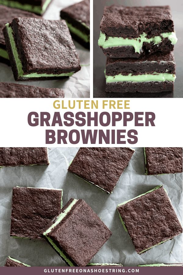 Gluten free grasshopper brownies are decadent double layer fudgy brownies filled with a simple mint-flavored fudge.