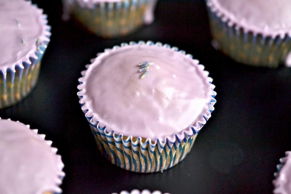 Gluten Free Lavender Glazed Cupcakes