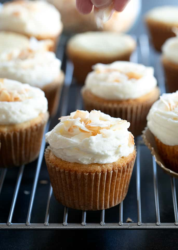 Frosted Gluten Free Coconut Cupcakes