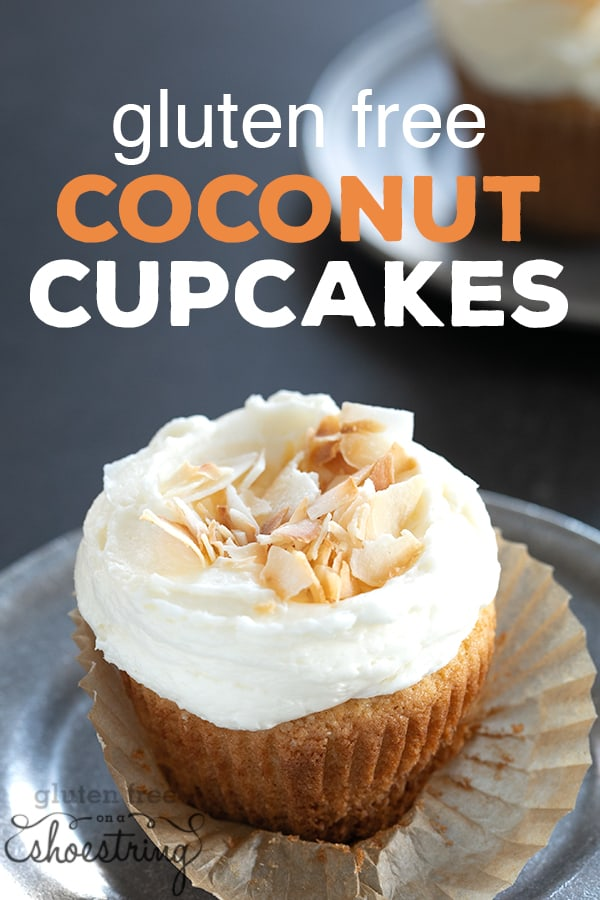 These elegant gluten free coconut cupcakes are made with real coconut chips ground into the sugar, plus coconut extract, for maximum coconut flavor. #glutenfree #gf #coconut #cupcakes #gfcake