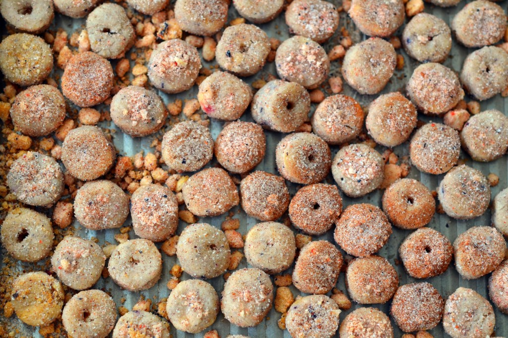 A close up of Apple jack style cereal