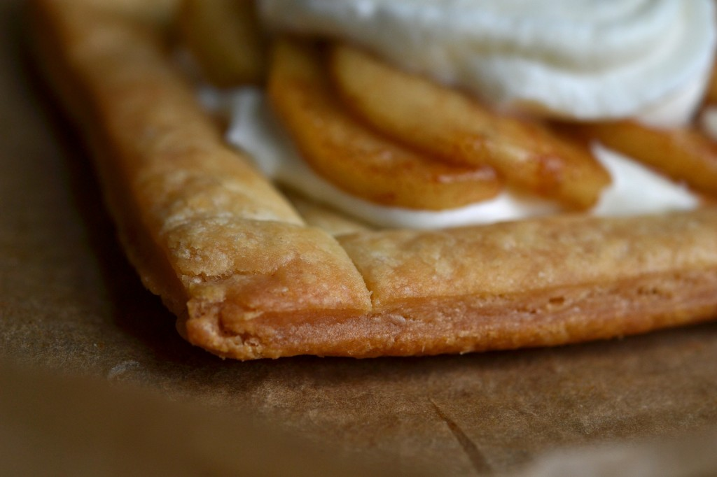 A close up side view of the puff pastry