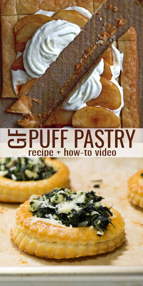 Puff pastry on brown paper with spinach pastries below