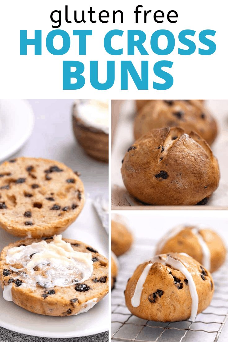 Words Hot Cross Buns with one bun cut in half with butter, one whole on wire rack, and one whole on tray