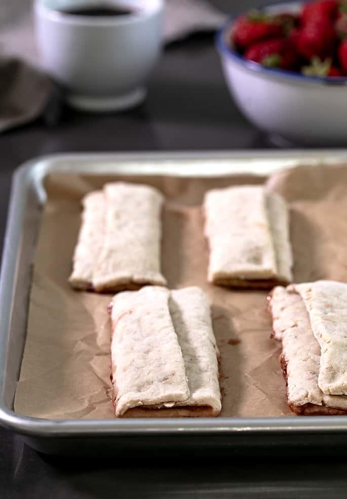 Baked Nutri grain bars on a tray