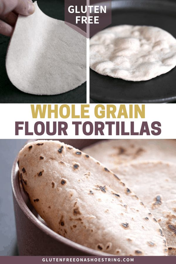 These whole grain gluten free flour tortillas have a wheaty taste and chew from added teff and sorghum flours, but are safely wheat-free.