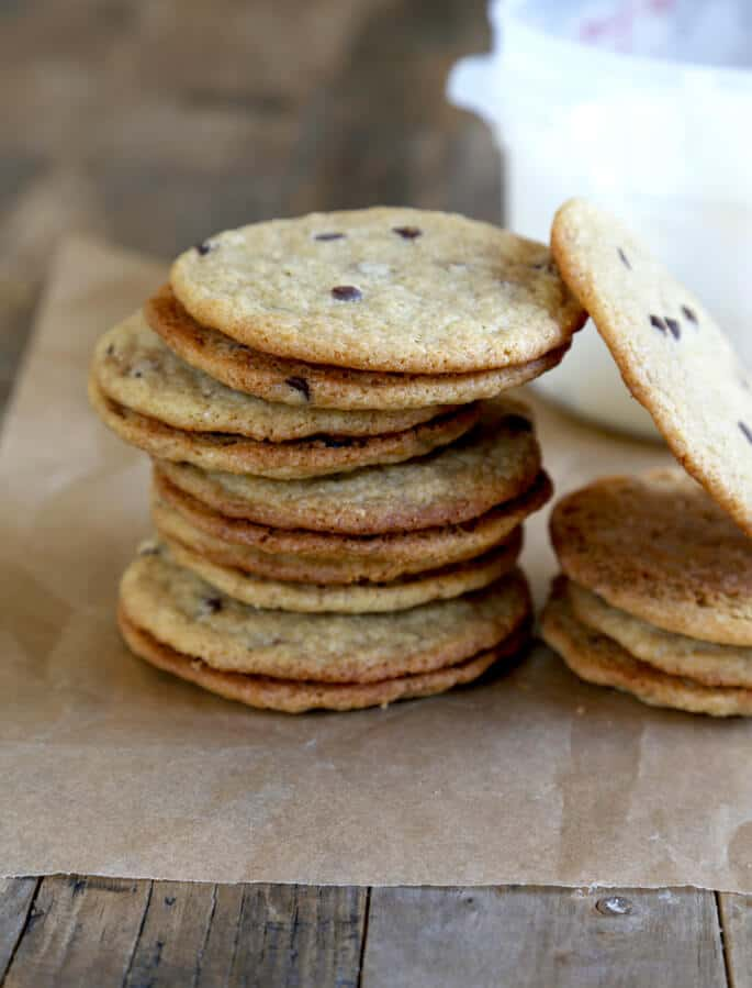 Gluten Free Thin and Chewy Chocolate Chip Cookies for Ice Cream Sandwiches