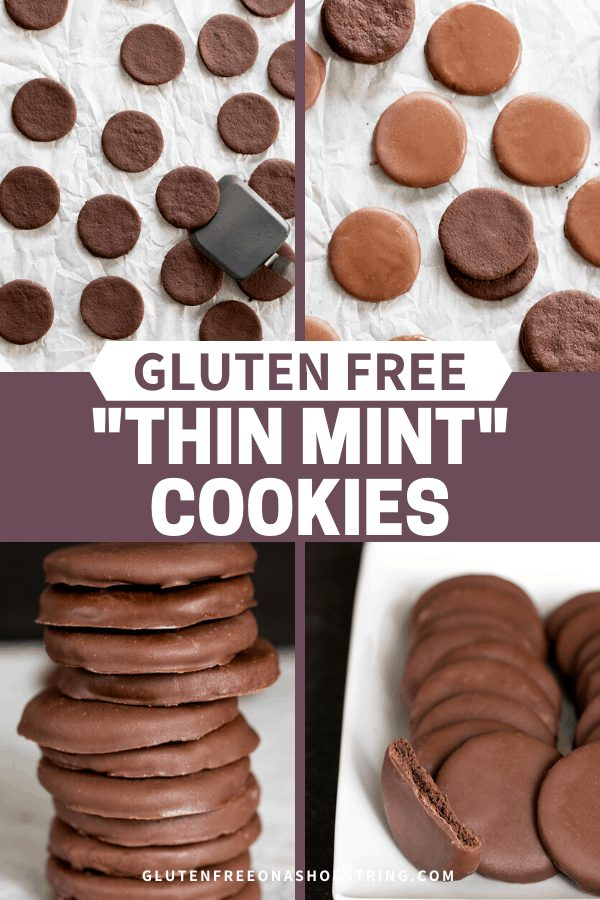 Four images that show gluten free Thin Mints cookies with and without chocolate coating.