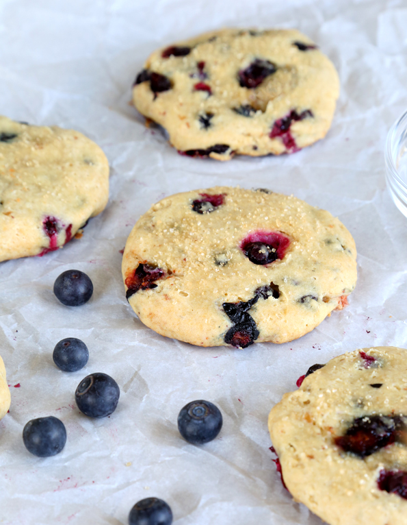 A close up of blueberry cheesecake cookies
