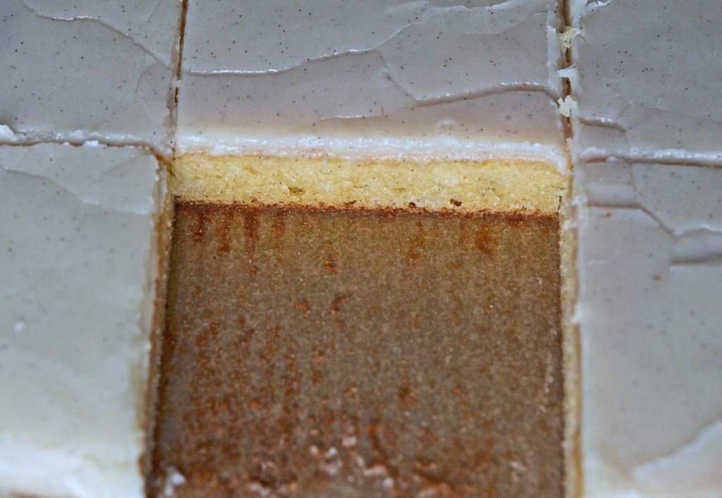 Slices of cake on brown surface