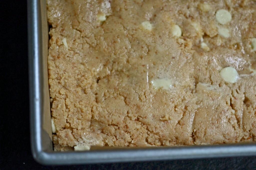 raw blondies in a pan