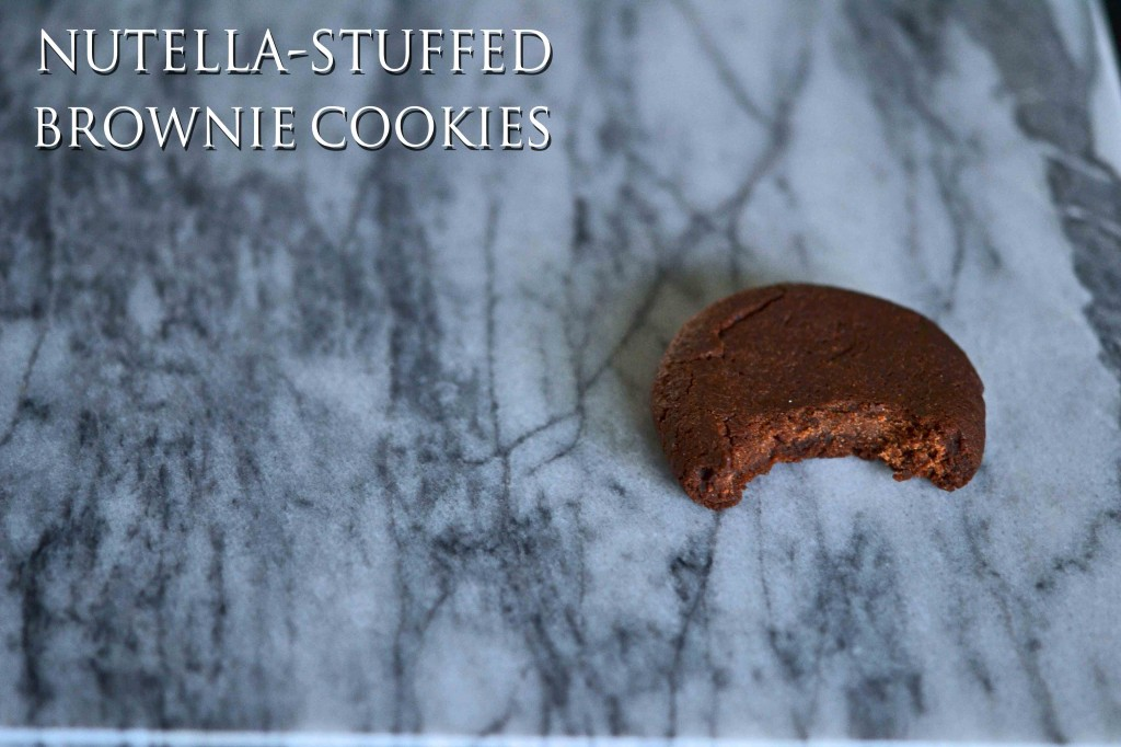 A close up of inside a Nutella stuffed brownie cookie